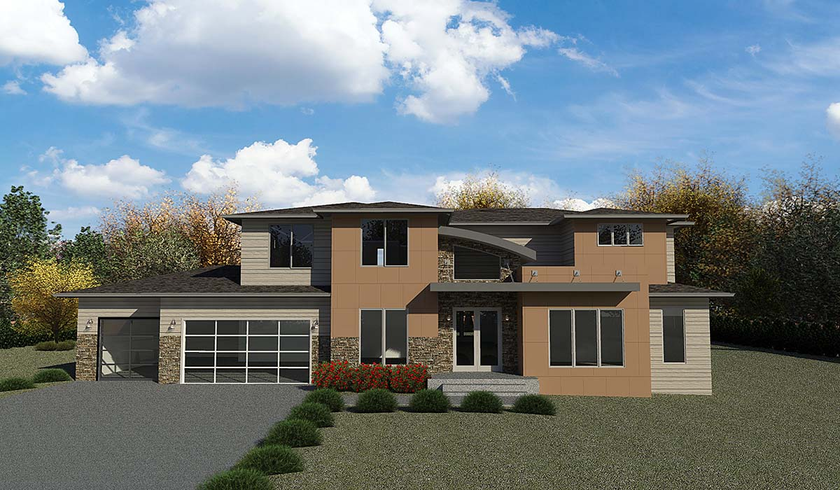 Contemporary, Modern House Plan 81905 with 5 Beds, 4 Baths, 3 Car Garage Front Elevation
