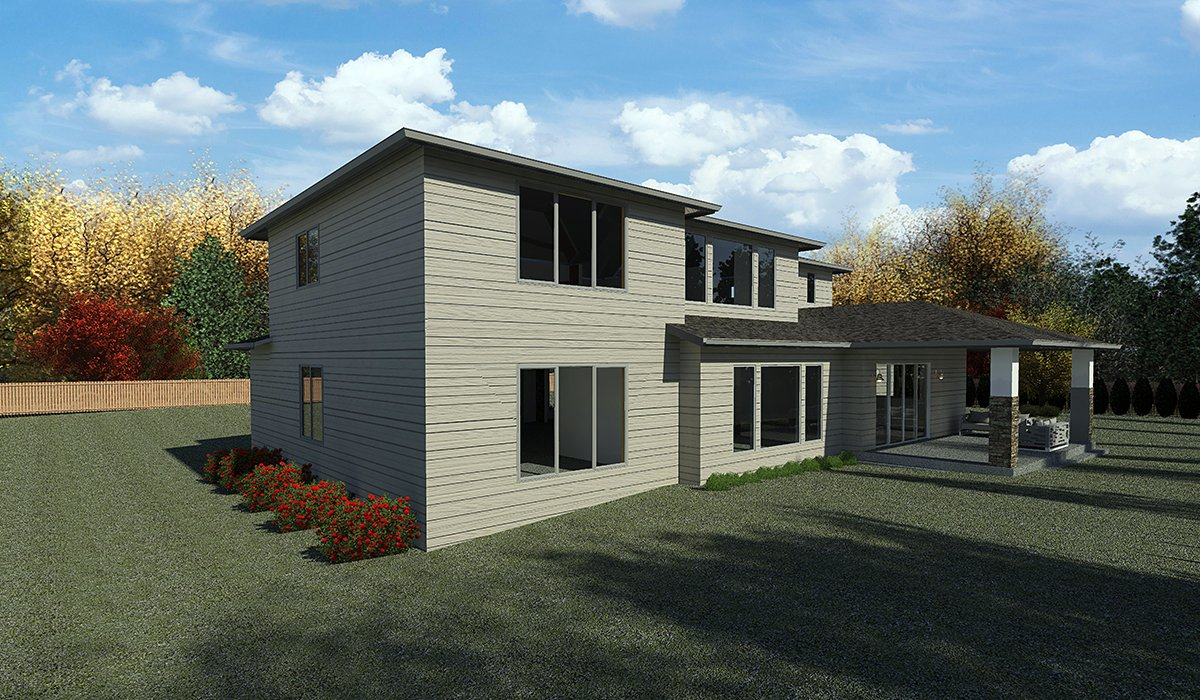 Contemporary, Modern House Plan 81905 with 5 Beds, 4 Baths, 3 Car Garage Rear Elevation