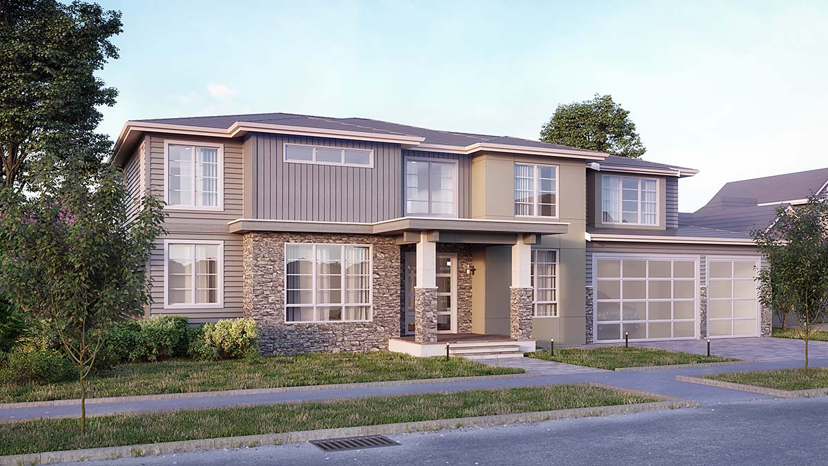 Contemporary House Plan 81912 with 5 Beds, 5 Baths, 3 Car Garage Elevation