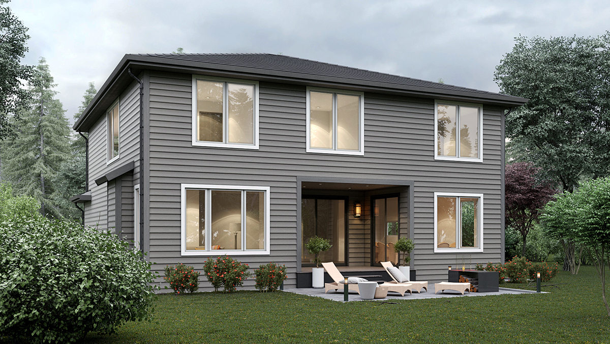 Contemporary House Plan 81913 with 5 Beds, 3 Baths, 2 Car Garage Rear Elevation