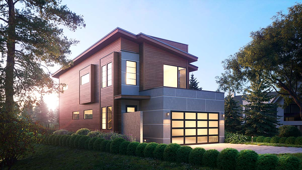 Contemporary, Modern House Plan 81919 with 3 Beds, 4 Baths, 2 Car Garage Elevation
