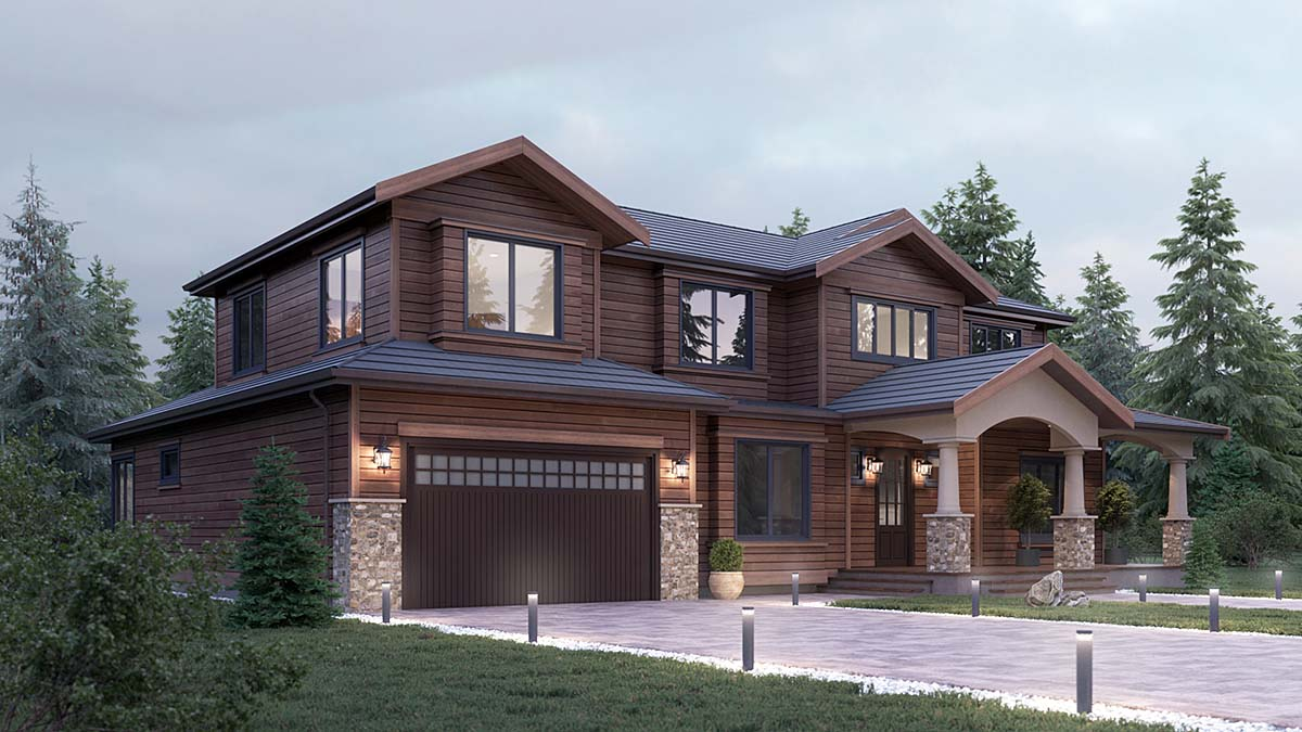 Craftsman, Traditional House Plan 81922 with 5 Beds, 4 Baths, 2 Car Garage Elevation
