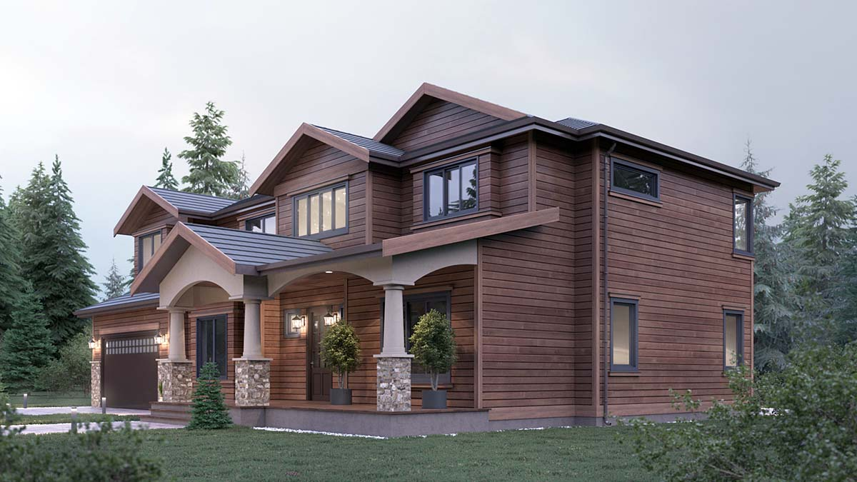 Craftsman, Traditional House Plan 81922 with 5 Beds, 4 Baths, 2 Car Garage Picture 2