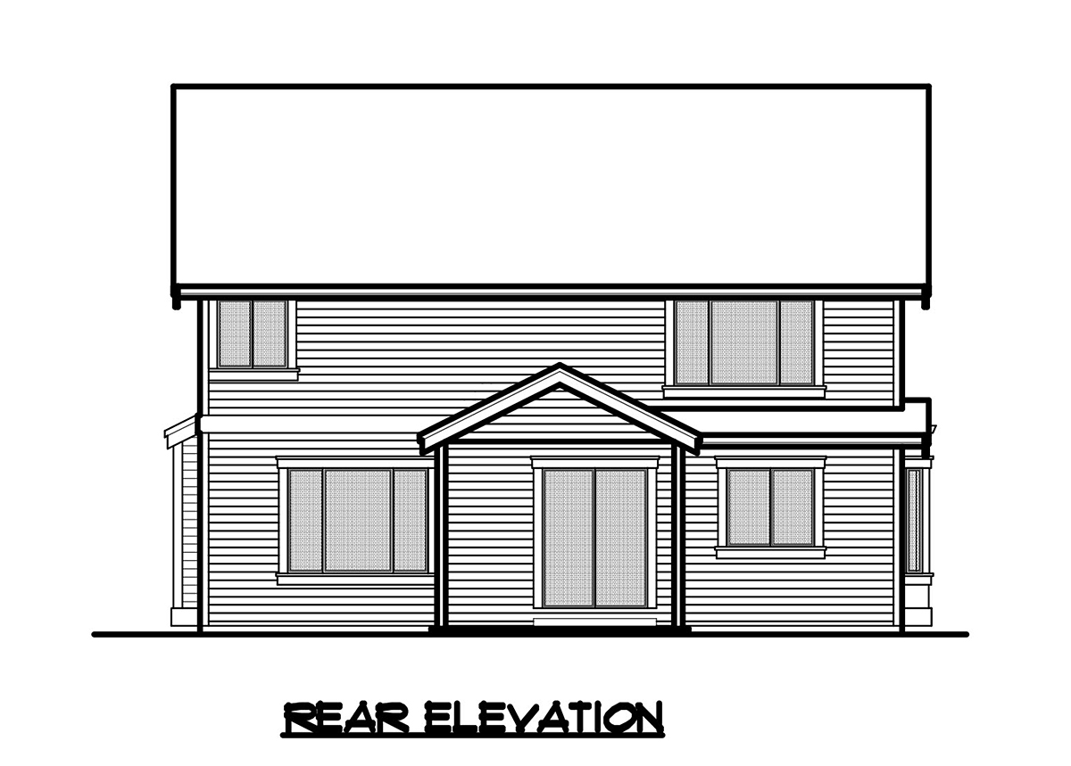 Craftsman, Traditional House Plan 81924 with 4 Beds, 3 Baths, 2 Car Garage Rear Elevation