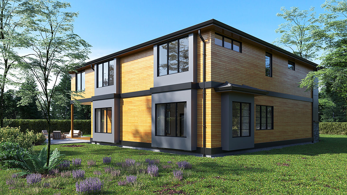 Contemporary, Modern House Plan 81930 with 4 Beds, 3 Baths, 2 Car Garage Rear Elevation