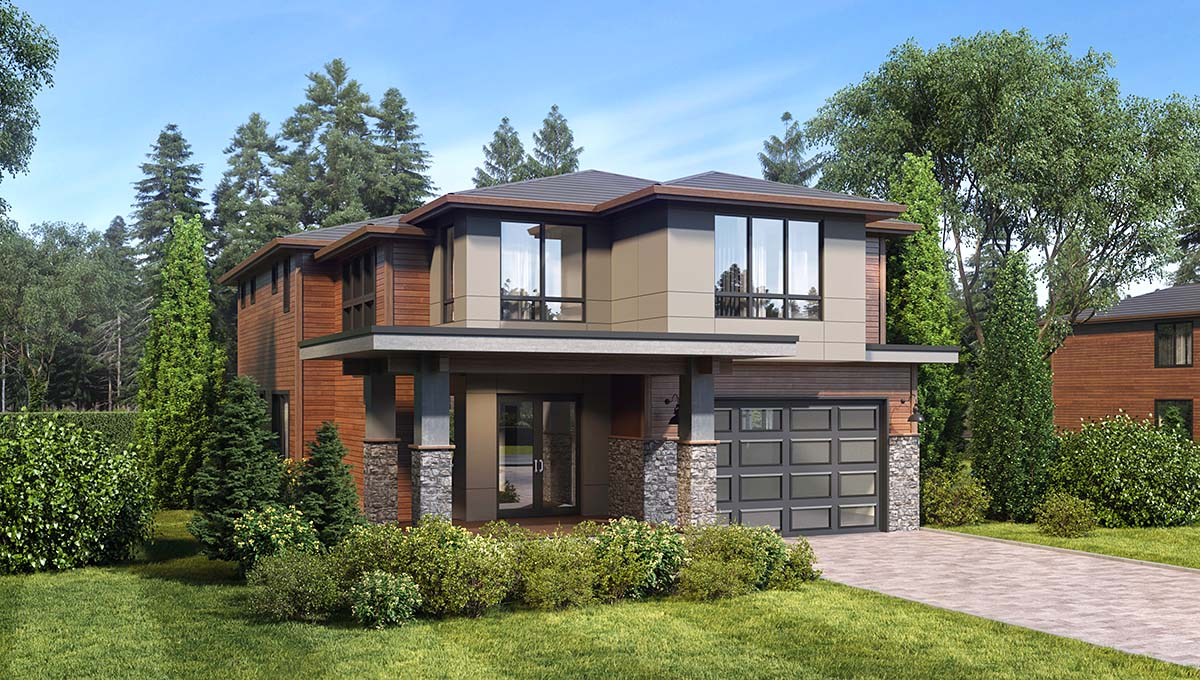 Contemporary, Modern House Plan 81931 with 4 Beds, 4 Baths, 2 Car Garage Picture 1