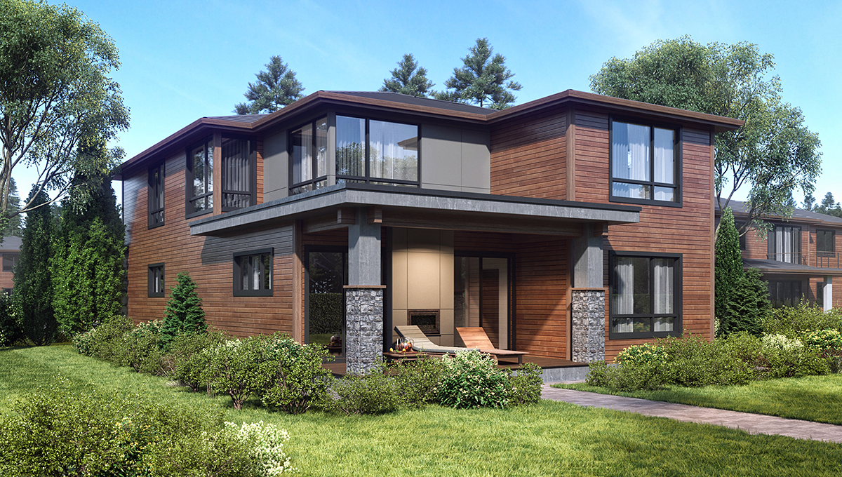 Contemporary, Modern House Plan 81931 with 4 Beds, 4 Baths, 2 Car Garage Rear Elevation