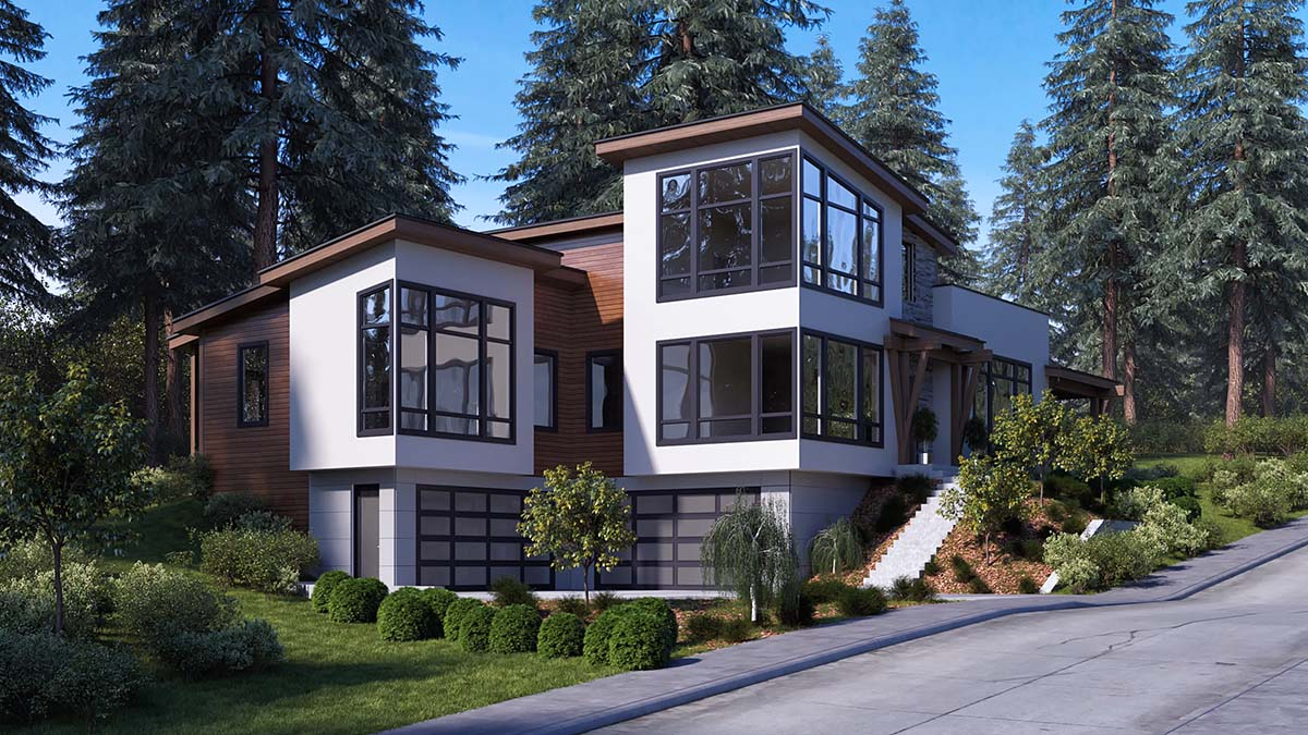 Modern Plan with 3053 Sq. Ft., 3 Bedrooms, 4 Bathrooms, 6 Car Garage Picture 2