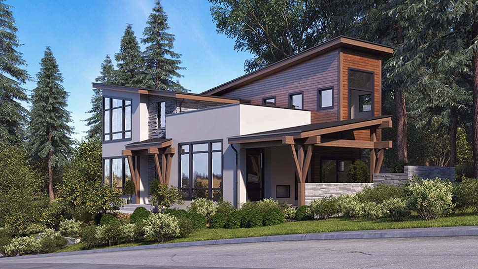 Modern Plan with 3053 Sq. Ft., 3 Bedrooms, 4 Bathrooms, 6 Car Garage Picture 3
