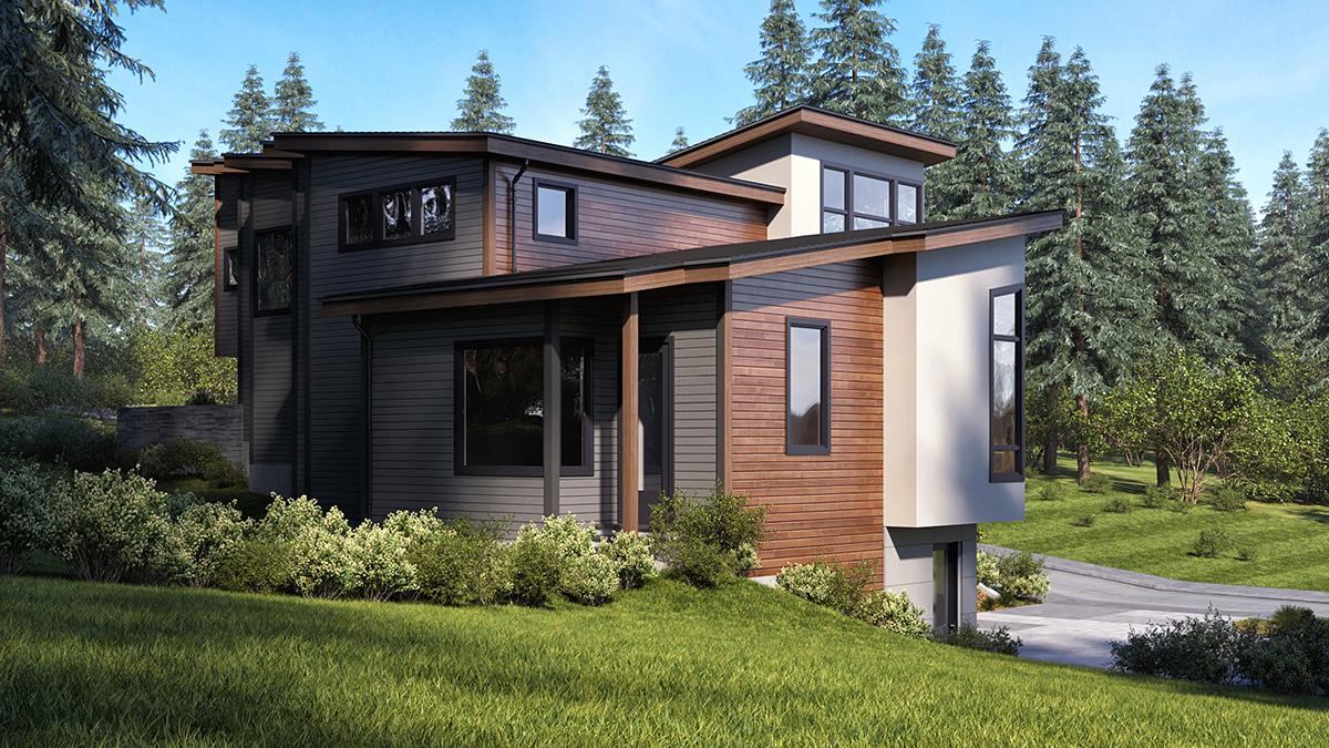 Modern House Plan 81933 with 3 Beds, 4 Baths, 6 Car Garage Rear Elevation