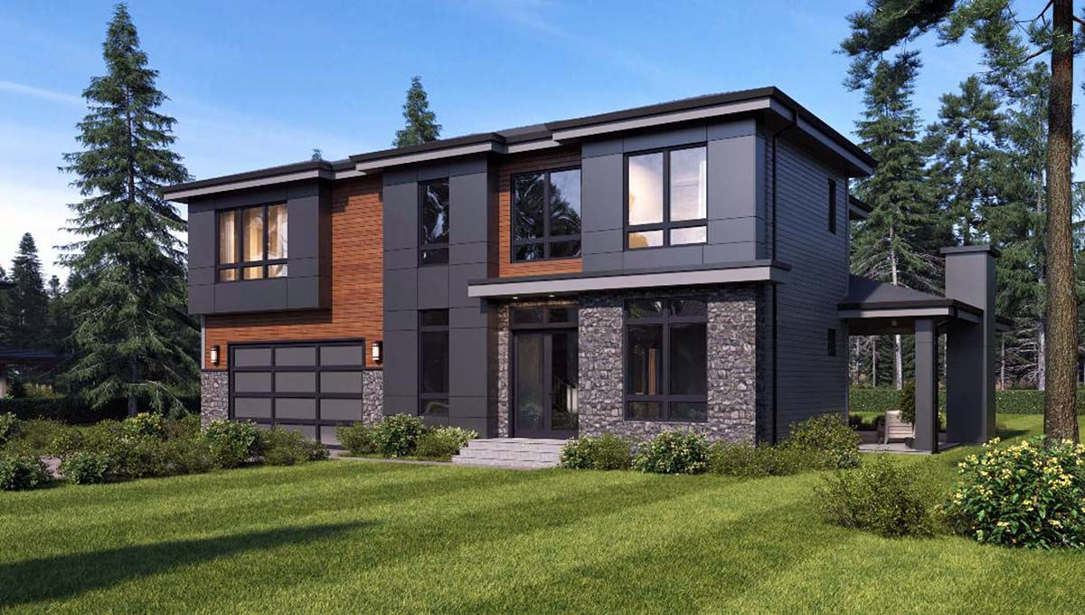 Contemporary, Modern House Plan 81935 with 4 Beds, 3 Baths, 2 Car Garage Picture 1