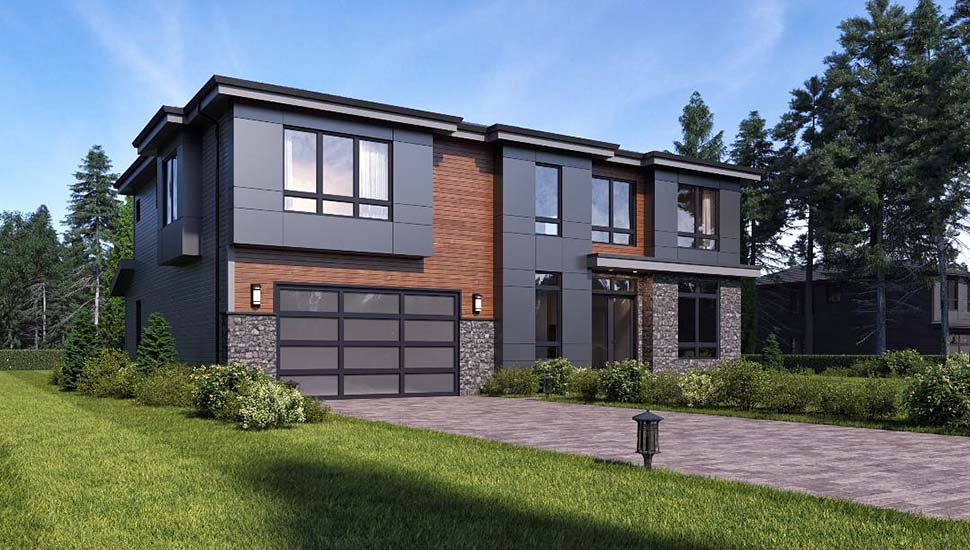 Contemporary, Modern House Plan 81935 with 4 Beds, 3 Baths, 2 Car Garage Picture 2