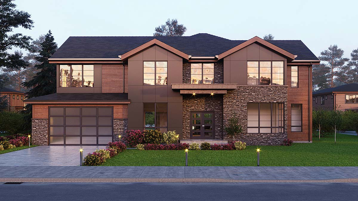Contemporary, Craftsman House Plan 81938 with 4 Beds, 5 Baths, 2 Car Garage Elevation
