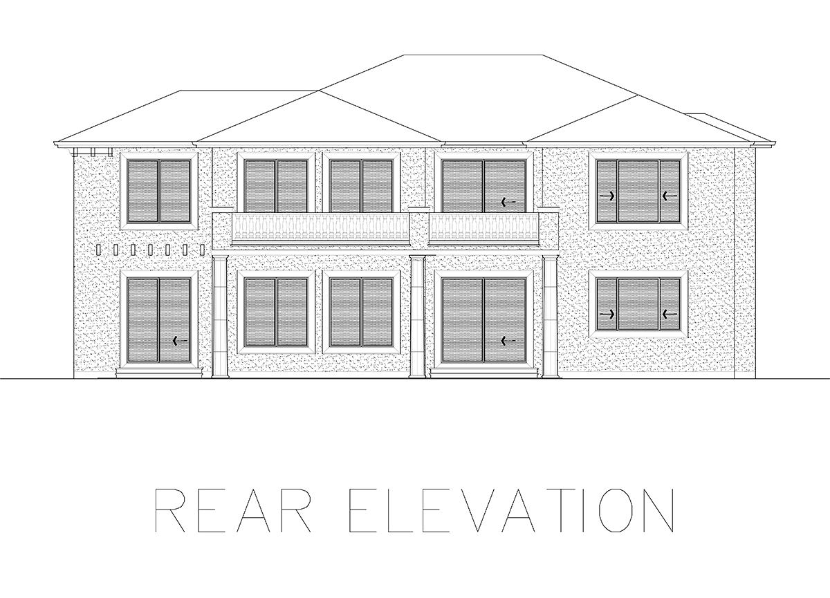 Mediterranean House Plan 81941 with 4 Beds, 5 Baths Rear Elevation