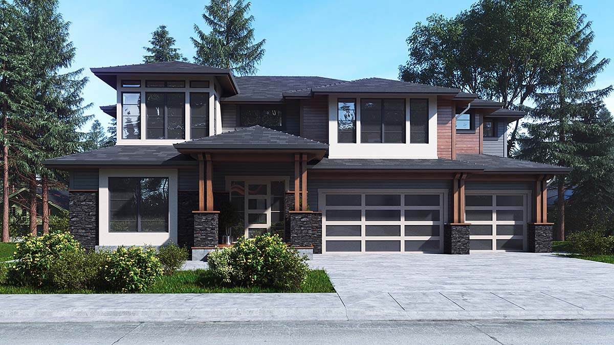Contemporary, Prairie House Plan 81943 with 5 Beds, 4 Baths, 3 Car Garage Elevation