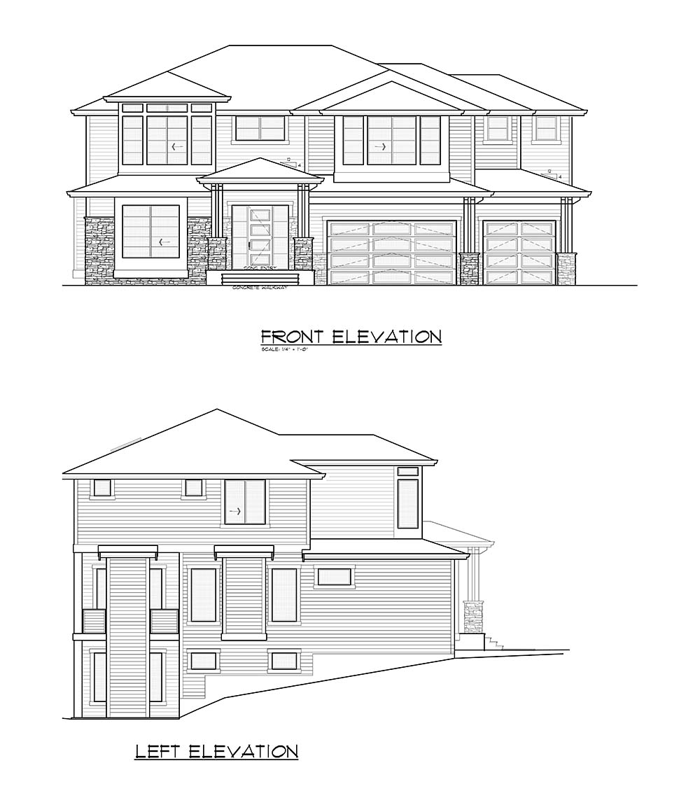 Contemporary, Prairie House Plan 81943 with 5 Beds, 4 Baths, 3 Car Garage Picture 3