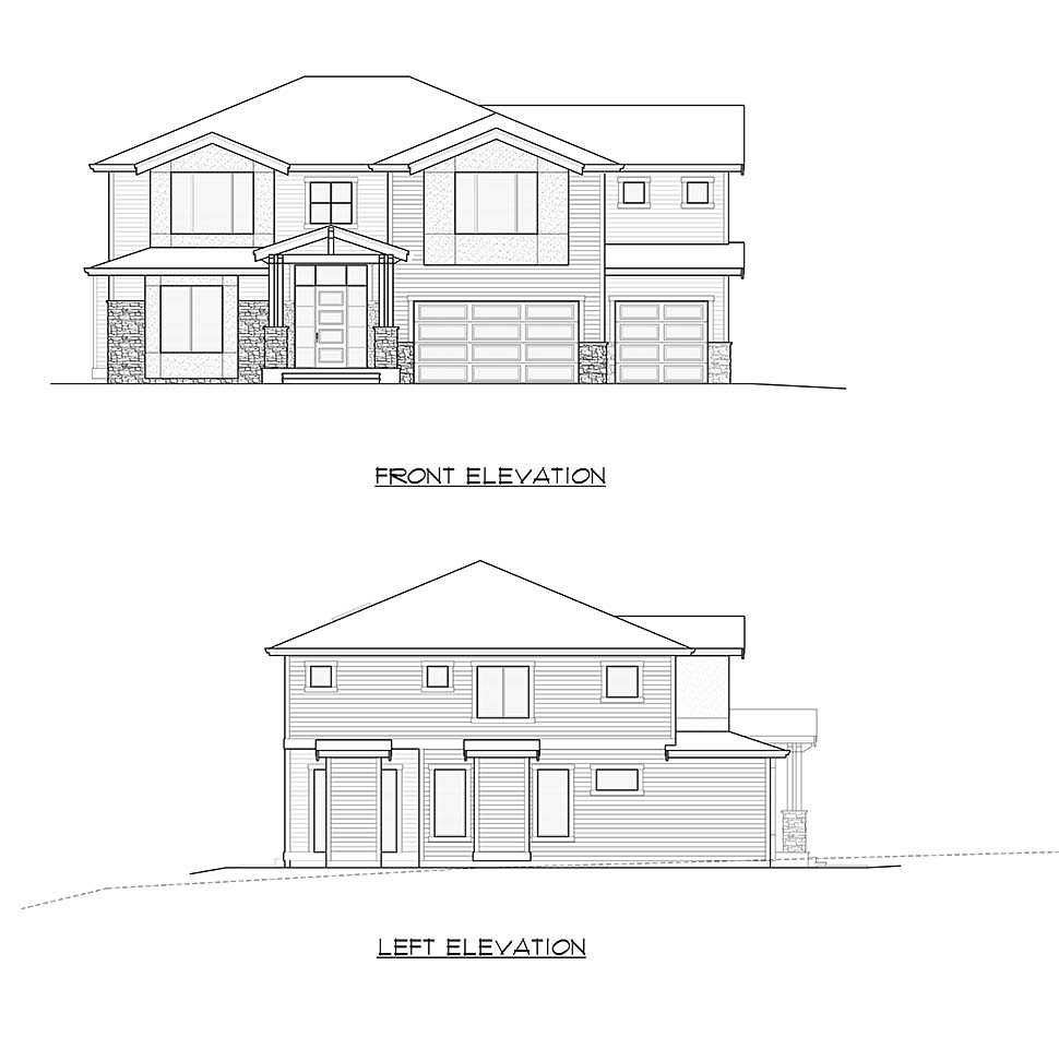 Contemporary, Craftsman, Modern House Plan 81944 with 4 Beds, 4 Baths, 3 Car Garage Picture 3