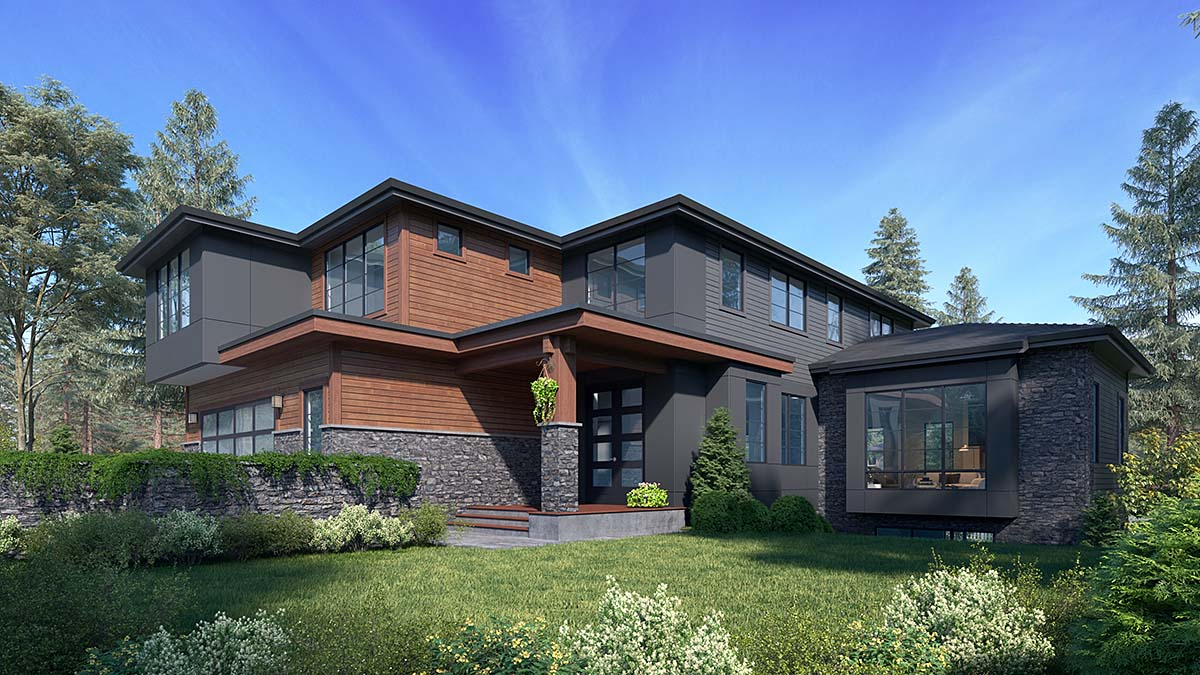 Contemporary, Modern House Plan 81947 with 6 Beds, 5 Baths, 2 Car Garage Elevation