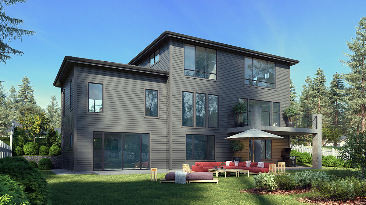 Contemporary, Modern House Plan 81947 with 6 Beds, 5 Baths, 2 Car Garage Rear Elevation