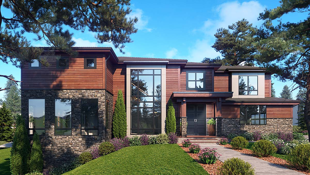 Contemporary, Modern House Plan 81948 with 6 Beds, 5 Baths, 3 Car Garage Elevation