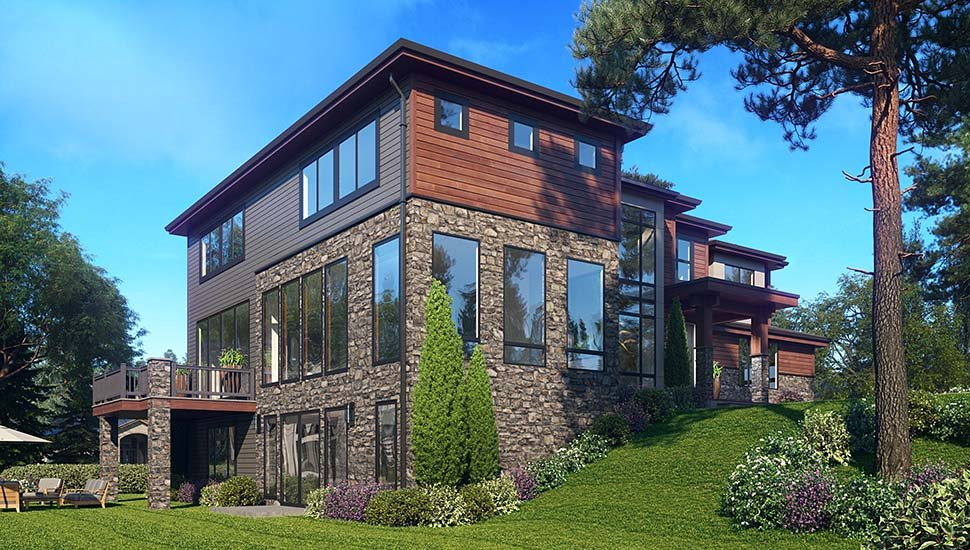 Contemporary, Modern House Plan 81948 with 6 Beds, 5 Baths, 3 Car Garage Picture 2