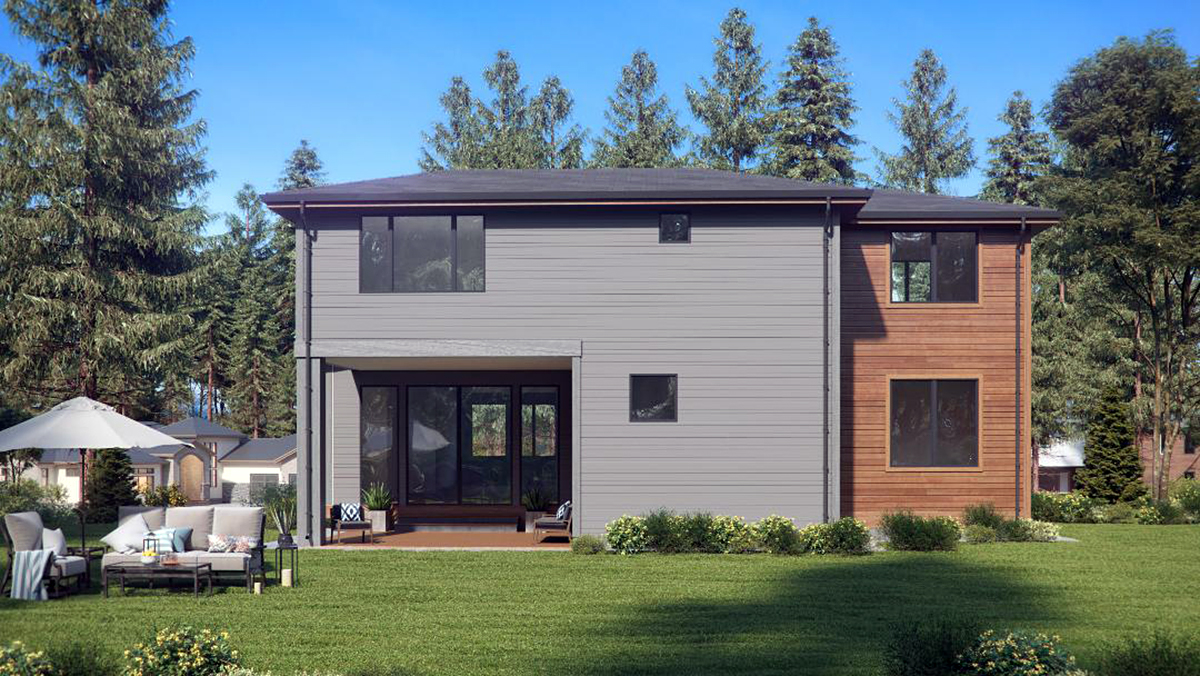 Contemporary, Modern House Plan 81950 with 4 Beds, 4 Baths, 3 Car Garage Rear Elevation