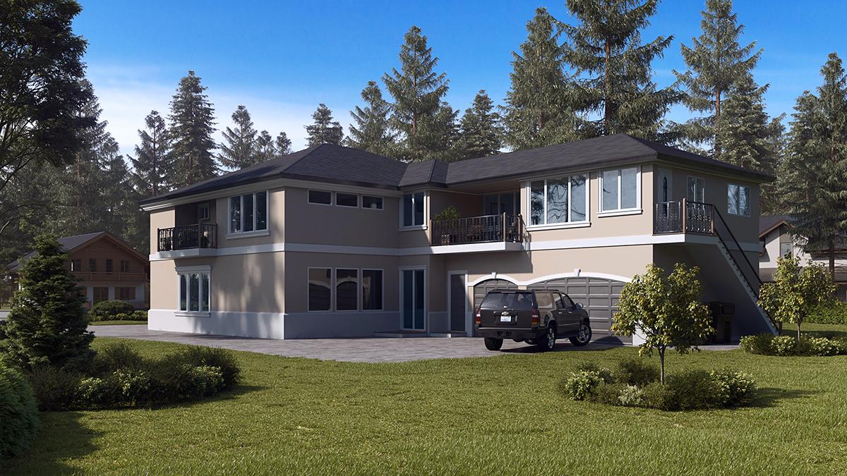 Mediterranean House Plan 81952 with 6 Beds, 7 Baths, 3 Car Garage Rear Elevation
