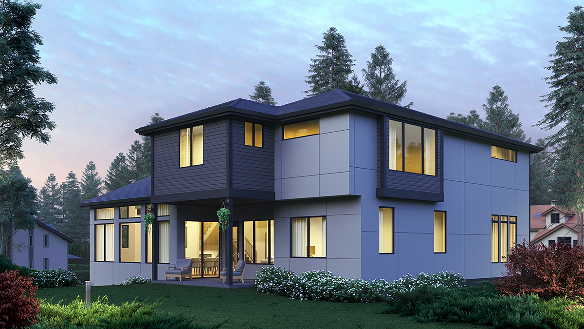 Contemporary, Modern House Plan 81954 with 5 Beds, 5 Baths, 2 Car Garage Rear Elevation