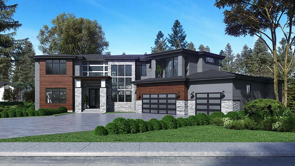 Contemporary, Modern House Plan 81955 with 4 Beds, 5 Baths, 3 Car Garage Picture 2