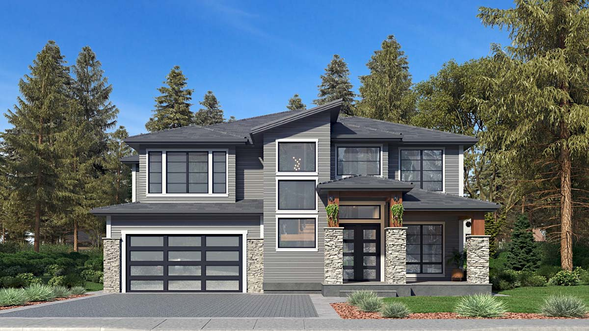 Contemporary, Modern House Plan 81959 with 5 Beds, 5 Baths, 2 Car Garage Elevation