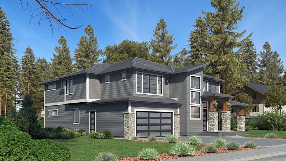 Contemporary House Plan 81959 with 5 Beds, 5 Baths, 2 Car Garage Picture 2
