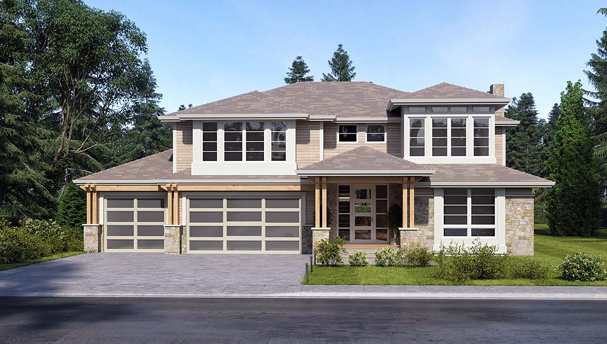 Contemporary, Traditional House Plan 81960 with 3 Beds, 4 Baths, 3 Car Garage Elevation