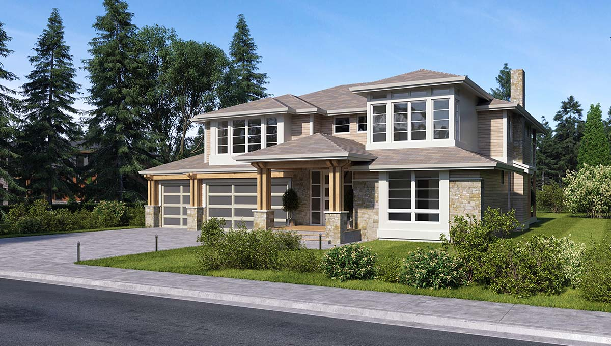 Contemporary, Traditional House Plan 81960 with 3 Beds, 4 Baths, 3 Car Garage Picture 1