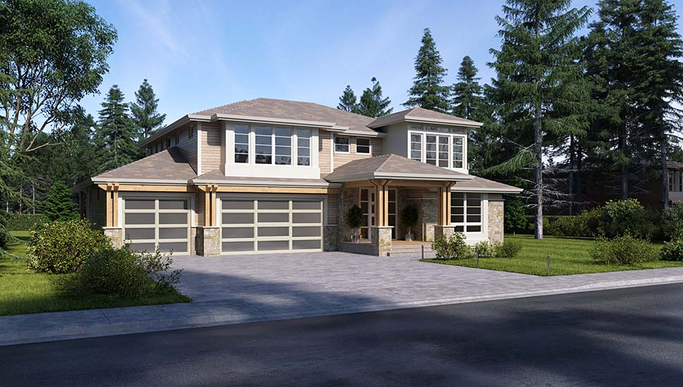 Contemporary, Traditional House Plan 81960 with 3 Beds, 4 Baths, 3 Car Garage Picture 2