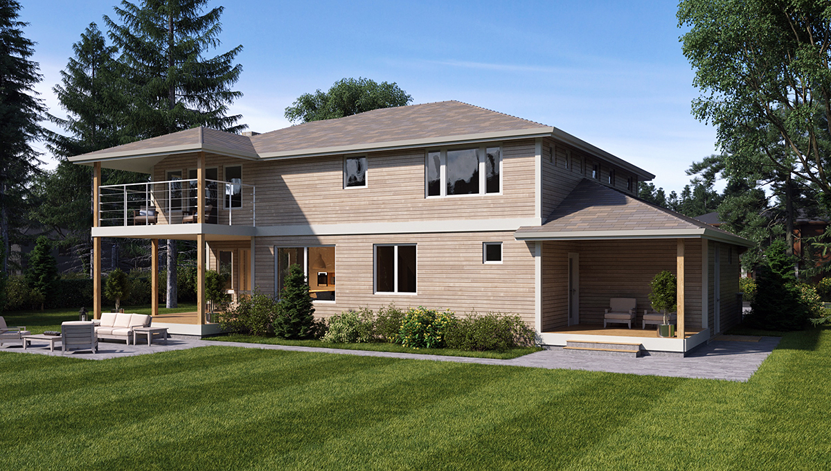 Contemporary, Traditional House Plan 81960 with 3 Beds, 4 Baths, 3 Car Garage Rear Elevation