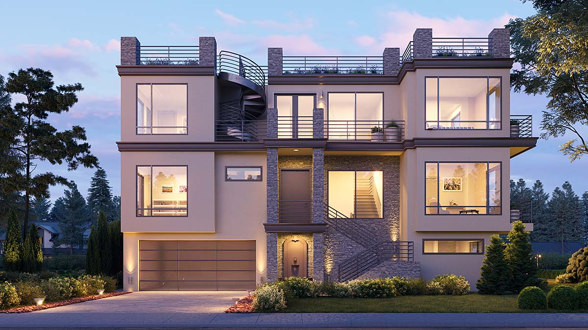 Modern House Plan 81980 with 7 Beds, 8 Baths, 2 Car Garage Elevation