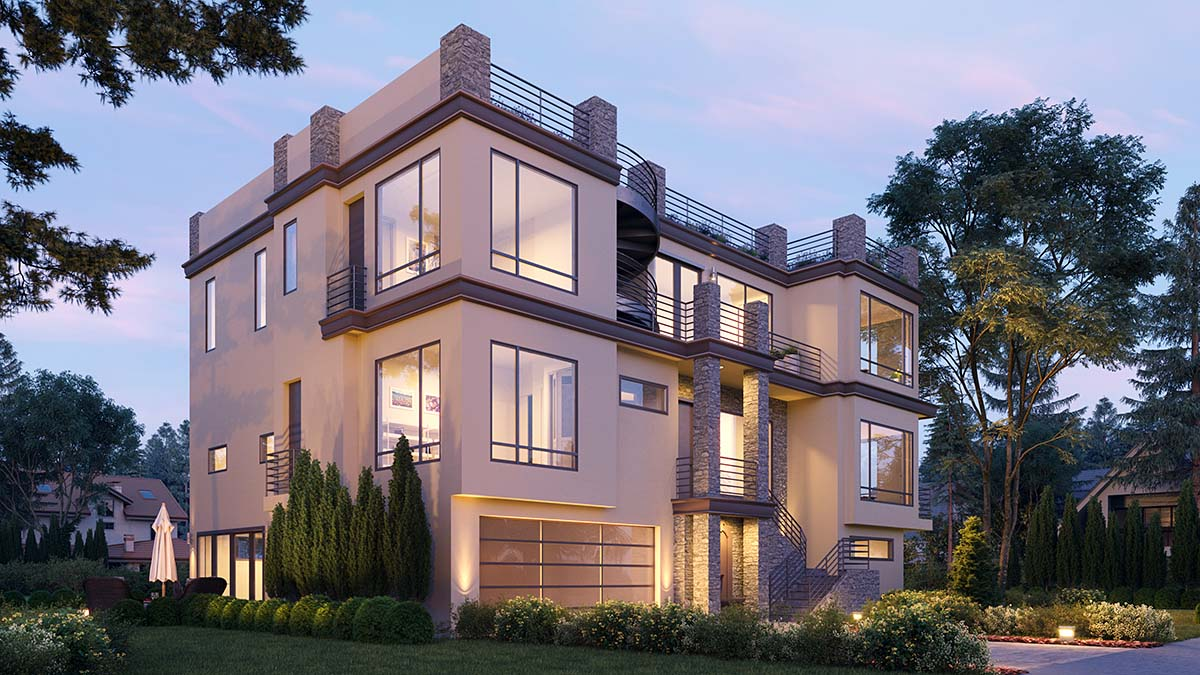 Modern House Plan 81980 with 7 Beds, 8 Baths, 2 Car Garage Picture 1