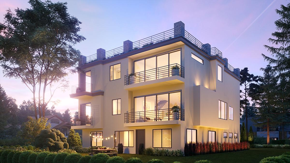 Modern House Plan 81980 with 7 Beds, 8 Baths, 2 Car Garage Rear Elevation