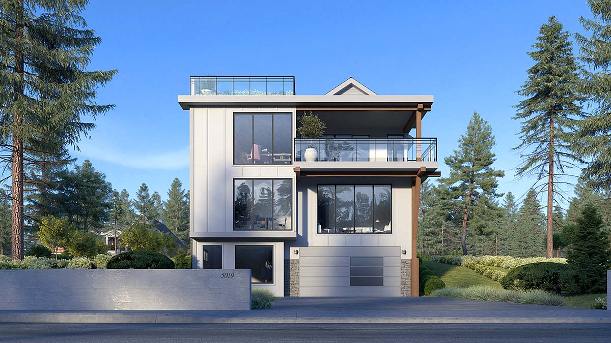Modern House Plan 81981 with 5 Beds, 5 Baths, 2 Car Garage Elevation