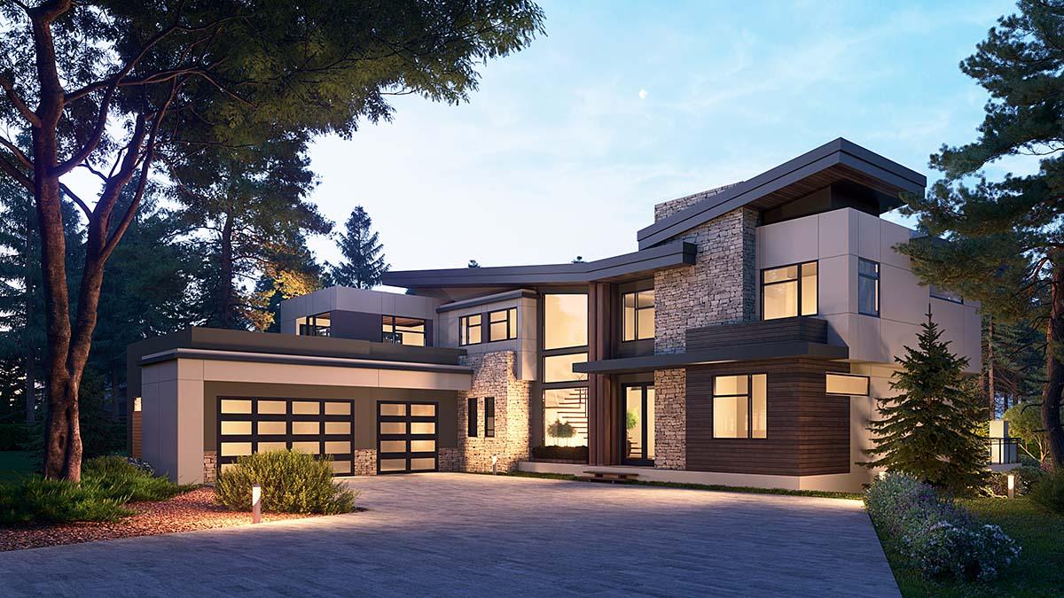 Modern House Plan 81990 with 4 Beds, 6 Baths, 3 Car Garage