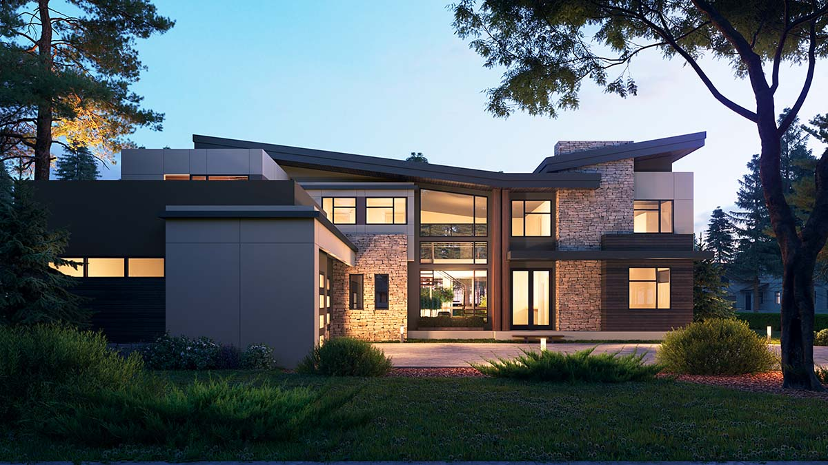 Contemporary House Plan 81990 with 4 Beds, 6 Baths, 3 Car Garage Picture 1