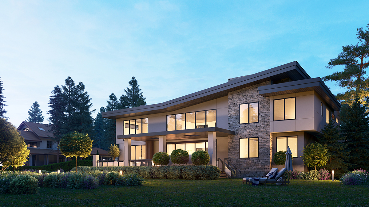 Contemporary House Plan 81990 with 4 Beds, 6 Baths, 3 Car Garage Rear Elevation