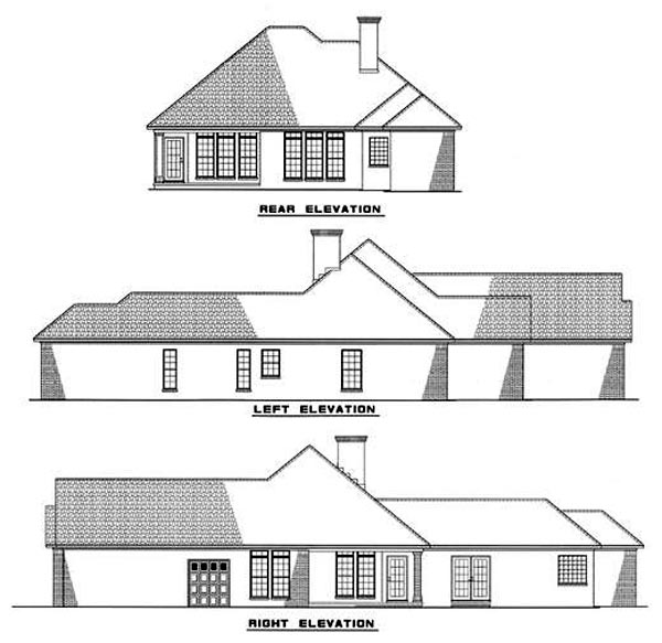 European House Plan 82000 Rear Elevation