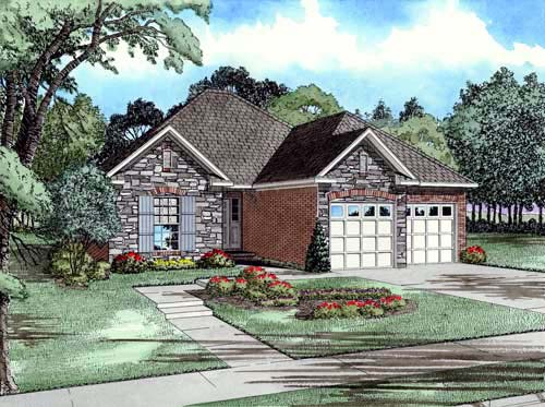 Craftsman, European House Plan 82003 with 3 Beds, 2 Baths, 2 Car Garage Elevation