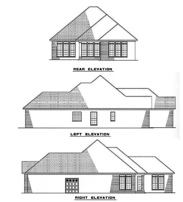Craftsman, European House Plan 82003 with 3 Beds, 2 Baths, 2 Car Garage Rear Elevation