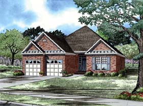 European House Plan 82004 with 3 Beds, 2 Baths, 2 Car Garage Elevation