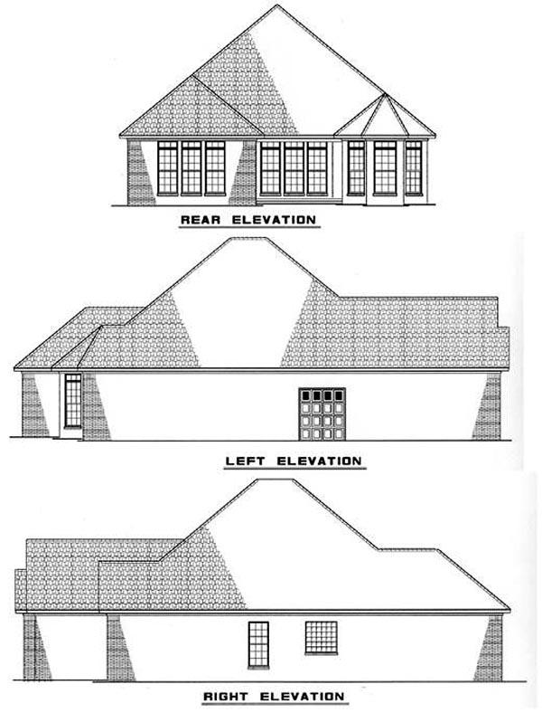 European House Plan 82004 with 3 Beds, 2 Baths, 2 Car Garage Rear Elevation