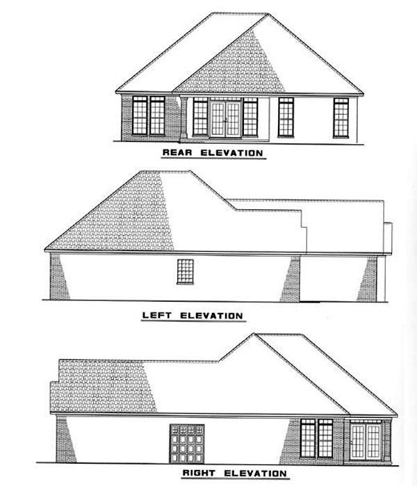 European House Plan 82007 Rear Elevation