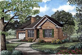 House Plan 82008 | Ranch Style Plan with 1598 Sq Ft, 3 Bedrooms, 2 Bathrooms, 2 Car Garage Elevation
