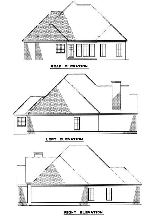 European Rear Elevation of Plan 82011